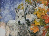 """Набор для вышивания """"Снежные волки"""" с нитками ДМС"""