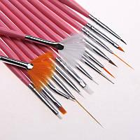 Набор кистей  для дизайна, китайской росписи  ногтей 15 шт