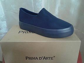 Молодежные женские слипоны, синий сатин. Prima D`Arte, фото 2