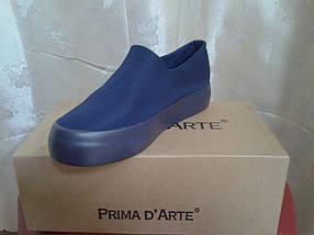 Молодежные женские слипоны, синий сатин. Prima D`Arte, фото 3