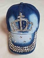 """Кепка детская джинсовая  """"Корона"""". Размер 48-52 см. Оптом."""