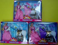 """Кукла 3323 флок. 11,5"""" с лошадью-единорогом 3в.кор., ш.к./24/(3323)"""