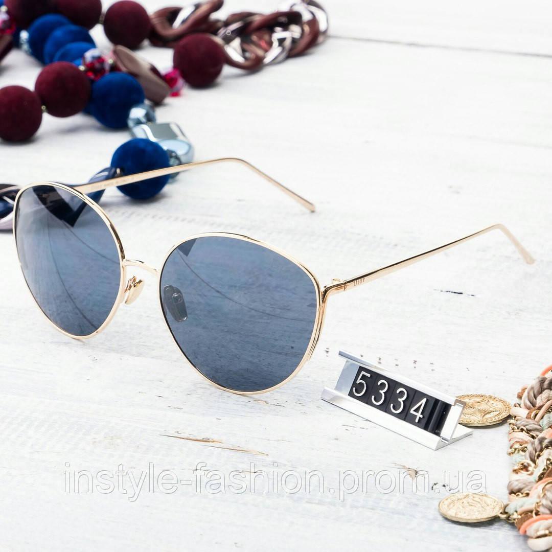 Женские брендовые очки копия Диор реплика круглые в золотой оправе