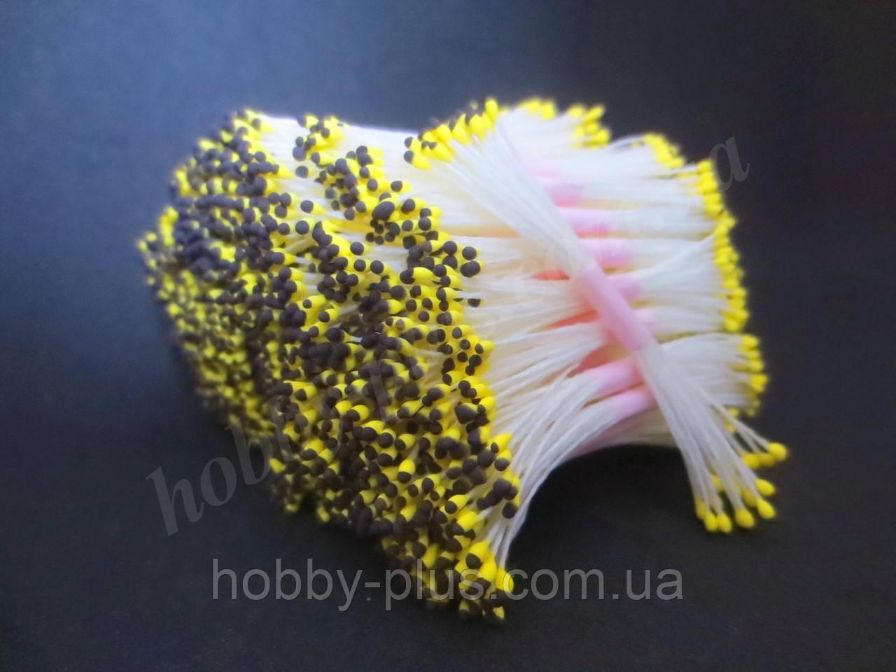 Тайские тычинки, ЧЕРНО-ЖЕЛТЫЕ, мелкие на белой нити, 23-25 нитей, 50 головок