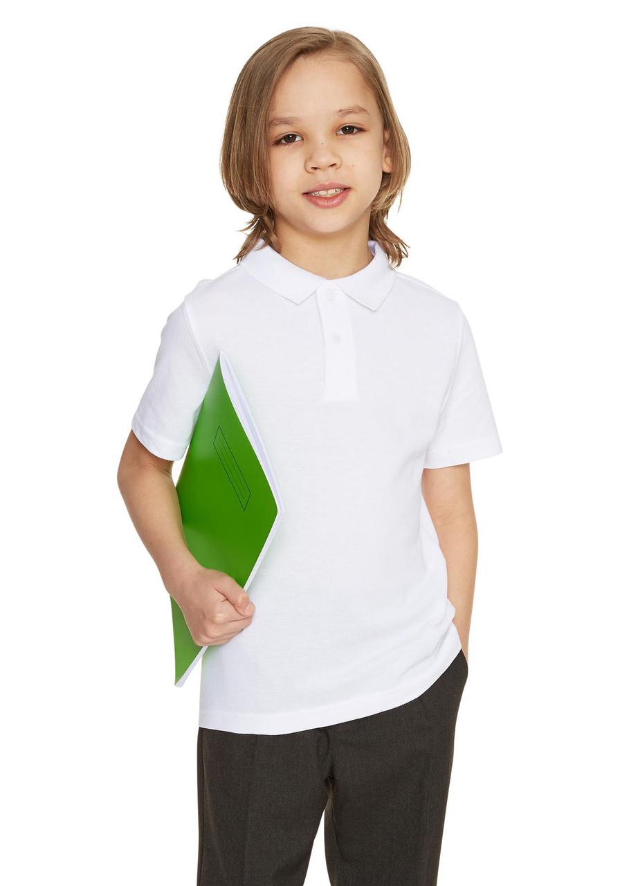 Школьная рубашка-поло белая с коротким рукавом на мальчика 5-6-7 лет F&F (Англия)
