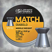 Пули JSB Diabolo MATCH middle weight 0,52 гр, калибр  4,5, 500 шт