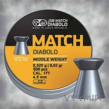 Пули JSB Diabolo MATCH middle weight 0,52 гр, калибр  4,5, 500 шт