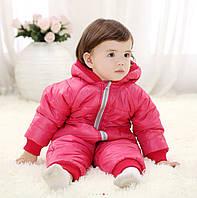 Детский теплый демисезонный, осенний / весенний комбинезон, р. 3-7 мес