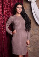 Теплое вязанное платье с узором