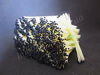 Тайские тычинки, ЧЕРНЫЕ, супер-мелкие на светло-желтой нити, 23-25 нитей, 50 головок
