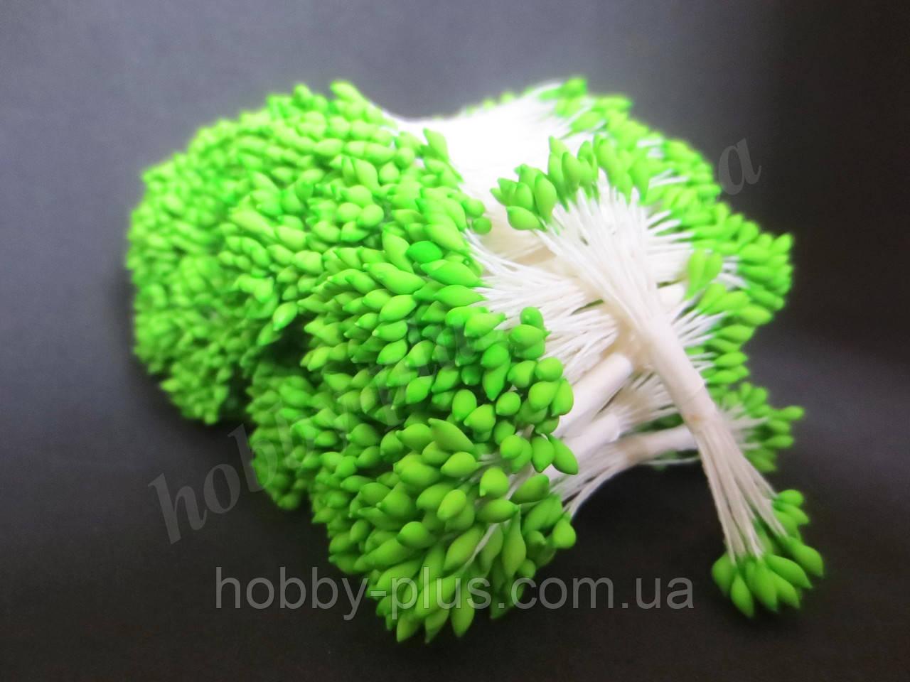 Тайские тычинки, ЯРКО-ЗЕЛЕНЫЕ, каплевидные на белой ните, 23-25 нитей, 50 головок