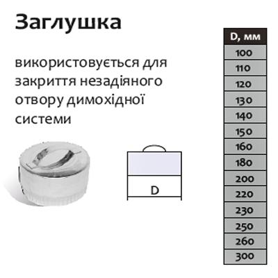 Заглушка для дымохода 130 мм из нержавеющей стали «Версия Люкс», фото 2