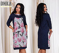 Платье женское большого размера, Ткань - ангора софт, Цвет - Розовые тюльпаны, серые тюльпаны, горохи, дг№1239