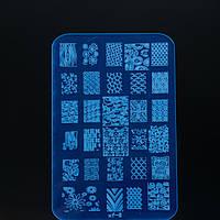 Пластина для стемпинга большая, пластиковая, 14,5 * 9,5 см, крупные рисунки, фото 1