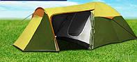 Палатка четырех 4 местная двухслойная с тамбуром козырьком водостойкая
