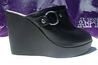 Кожаные, стильные женские сабики с открытым носком из натуральной кожи, от производителя.