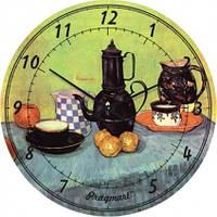 Часы настенные из стекла - кухонный натюрморт (немецкий механизм)