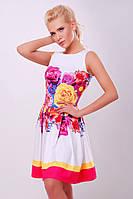 Летнее белое платье с цветочным принтом 46 размеры