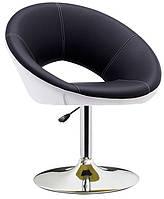 Дизайнерское кресло Беллино черно-белая искусственная кожа поворотный и подъемный механизмы