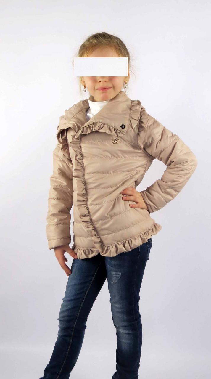 Куртка весна-осень код 572 размер 116-134 (5-9 лет) цвет бежевый, фото 2