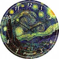 Часы настенные из стекла - звездная ночь (немецкий механизм)