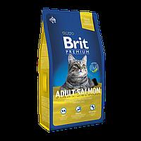 Brit Premium Cat Adult Salmon с лососем для взрослых кошек, 8 кг
