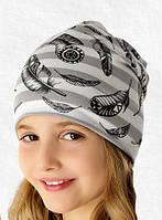 Весенне-летняя шапочка для девочки с принтом перышки, Marika (Польша)