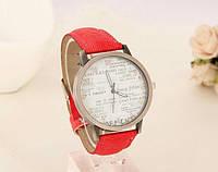 Стильные часы кварцевые джинс красный