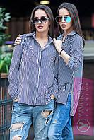 Рубашка женская в полоску свободного кроя Амалия RY62