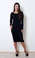 Красивое приталенное платье Регина с гипюровыми вставками длины миди 42-56 размер