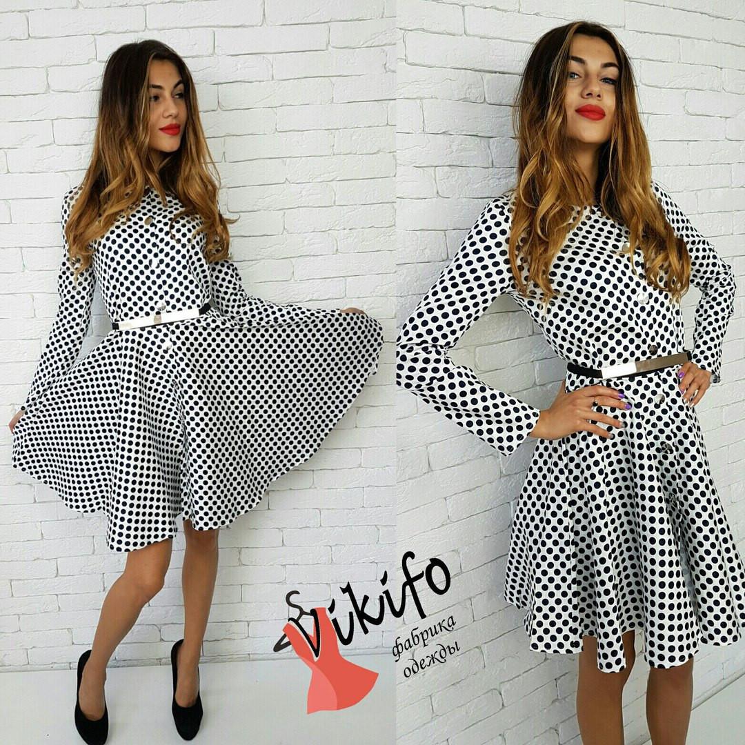 f24c2e1208a Платье в горошек с юбкой солнце 2 цвета SMf1221 - Shoppingood в Харькове