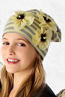 Демисезонная шапочка для девочки с принтом Орхидеи, Marika (Польша)
