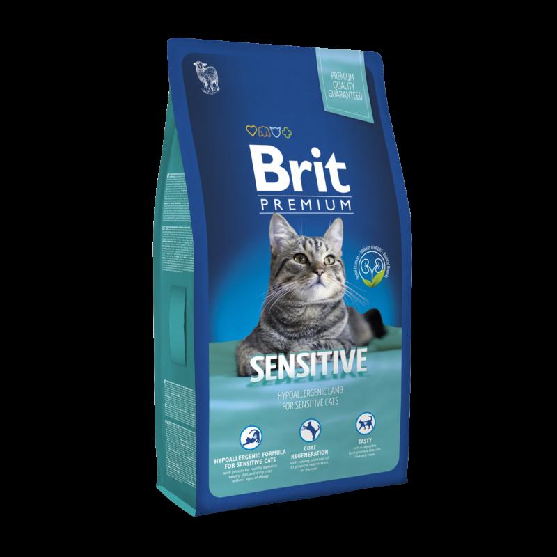 Сухой корм Brit Premium Cat Sensitive для кошек с чувствительным пищеварением, 0,8 кг