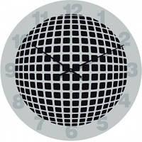 Часы настенные из стекла - серый шар 3D (немецкий механизм)