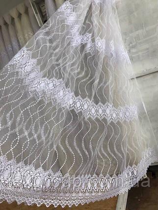 Тюль фатин с вензелями крем 5003, фото 2