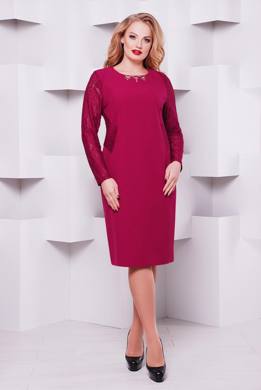 Нарядное  платье Адель фуксия гипюр