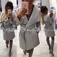 Пальто женское модное на подкладке серое №186,стильная верхняя одежда