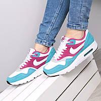 Кроссовки женские Nike Air Max голубые с розовым натуральная замша, спортивная обувь