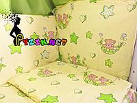 """Постельный набор в детскую кроватку (8 предметов) Premium """"Мишки в гамаке"""" нежно-салатовый"""
