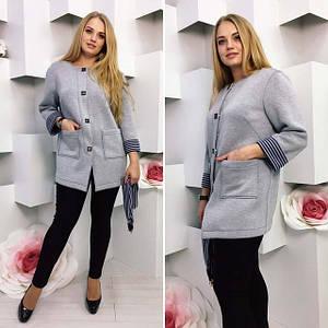"""Женский стильный кардиган-пальто в больших размерах """"Неопрен Карди Шарф"""" (58-7)"""