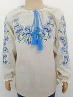 Блузка, украинская вышиванка льняная Квіточка для девочки белая