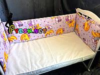 """Защита для детской кроватки 120х60 см, """"Мишки на луне"""" фиолетовая"""