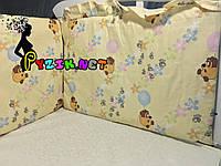 """Защита для детской кроватки 120х60 см, """"Винни Пух"""" бежевая, фото 1"""