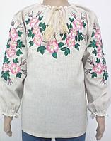 Блузка, украинская вышиванка льняная Шипшина для девочки серая