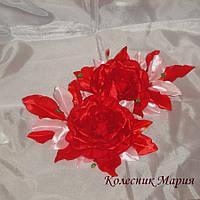 Украшение для волос Красная роза (основа на выбор), 2шт