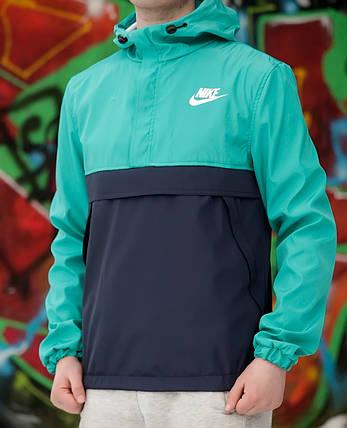Мужской анорак Nike светло-зеленый топ реплика, фото 2