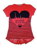 "Футболка для девочек ""Сердце Парижа""  134-164 см."