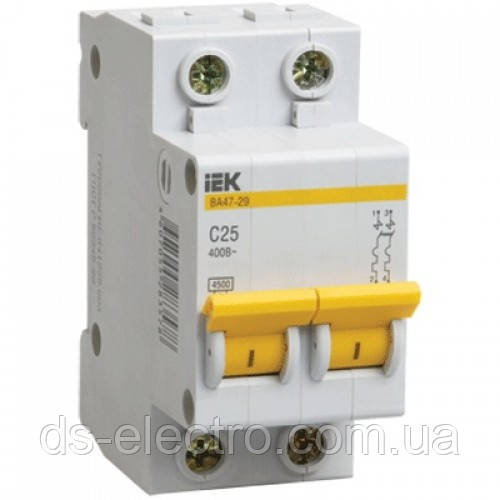 Автоматический выключатель ВА47-29 2P  6A 4,5кА х-ка C IEK