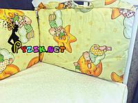 """Защита для детской кроватки 120х60 см, """"Мишки на луне"""" желтая"""