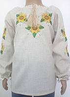 Блузка, украинская вышиванка льняная Ждана для девочки белая